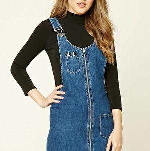 Denim zipper dungaree overall dress